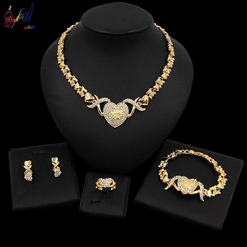 Yulaili más reciente big teddy bear I love you conjunto de joyería de corazón forma cristal Rhinestone collar pendientes pulsera anillo Bijoux
