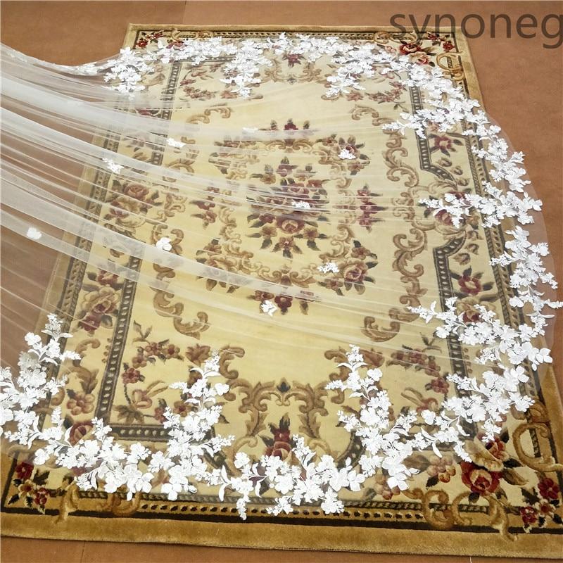 3 metra jednoslojni vjenčani veo s češljem bijeli čipkasti rub - Vjenčanje pribor - Foto 4