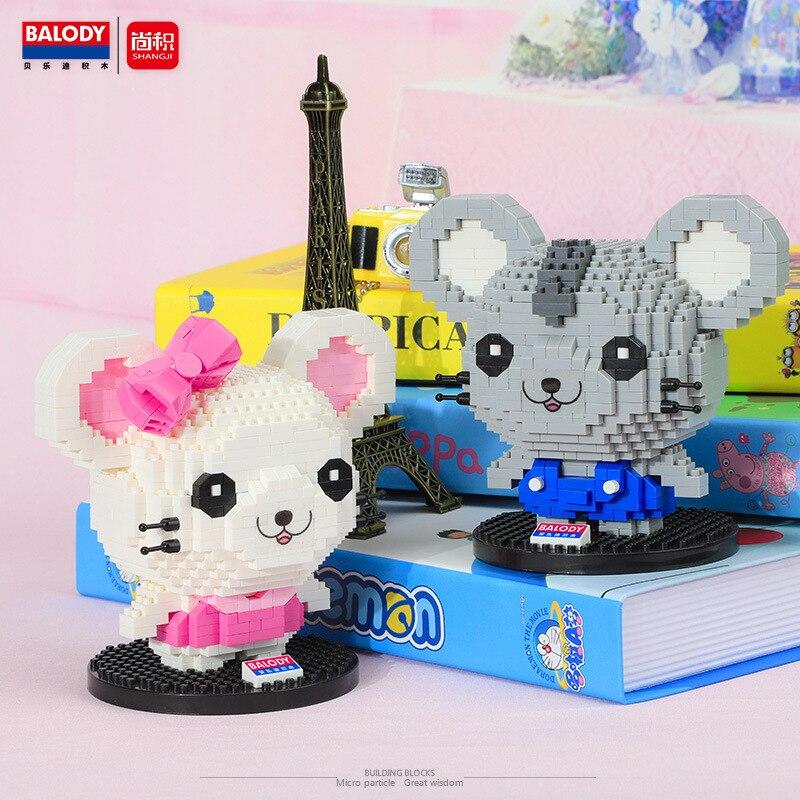 3D модель мультяшных животных, мышь, мини-конструктор, аниме «сделай сам», сборные строительные блоки, детские развивающие игрушки, празднич...