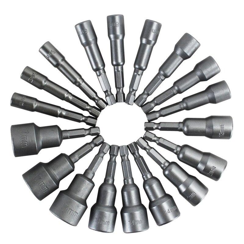 6mm -19mm Nut Wrench Socket Tool Set Standard Socket Wrench Hex Shank Power Tool Sheet Metal Tool Kit