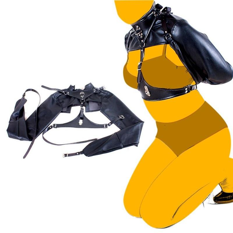BDSM عبودية بولي Harness الجلود تسخير الصدر ضبط النفس حزام مستقيم سترة المثيرة الوثن الجنس لعب للأزواج