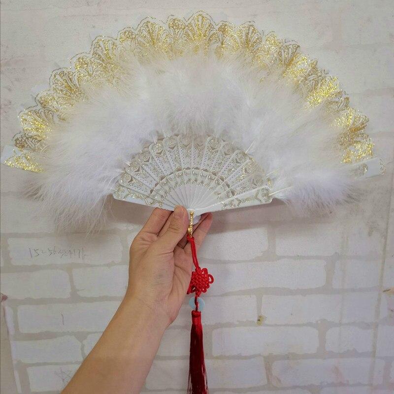 Abanico de plumas Vintage, pluma de baile en vivo, Cheongsam colorido, pasarela,...