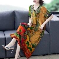 zuoman casual floral mulberry silk midi dress autumn loose 4xl plus size long sleeve dress women elegant bodycon vestidos