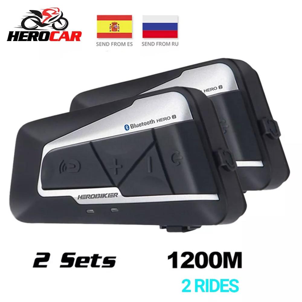 HEROBIKER 2 Sets 1200M BT Motorcycle Helmet Intercom Waterproof Wireless Bluetooth Moto Headset Interphone FM Radio For Rides