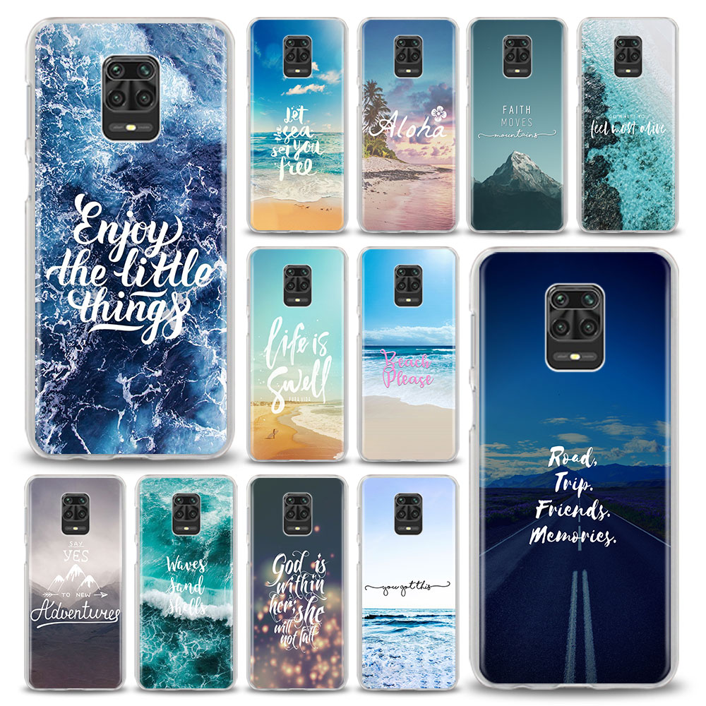 Fall Für Xiaomi Redmi Hinweis 9 9S 8T 8 Pro 9 Pro Max Redmi 9 9A 9C 8 8A 7 7A 6 6A Reisen Berg Meer Strand Zitate Tasche Abdeckung Coque
