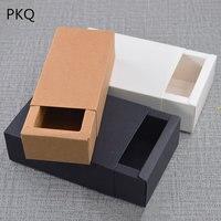 20pcs large paper gift box big kraft cardboard box small size black paper box for T shirt jewelry kraft paper soap packaging box