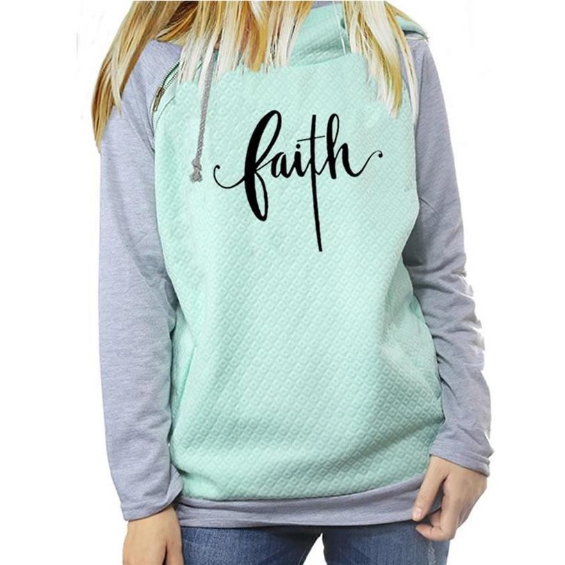 Faith Hoodies For Women Letters Print Zipper Decoration Kawaii Sweatshirt Femmes Hoody Girls Loose Youth Street