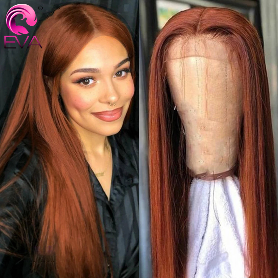 Colored Copper Lace Front Human Hair Wigs Straight Transparent Lace Wig 13x6 Brazilian Red Brown Human Hair Closure Lace Wig