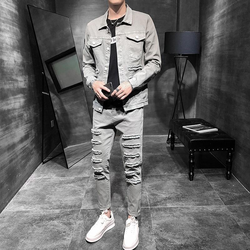 New Spring Autumn Mens Streewear Casual Sets Men's Fashion Slim Denim Suit Men 2 Piece Set Single-breasted Denim Jacket + Jeans