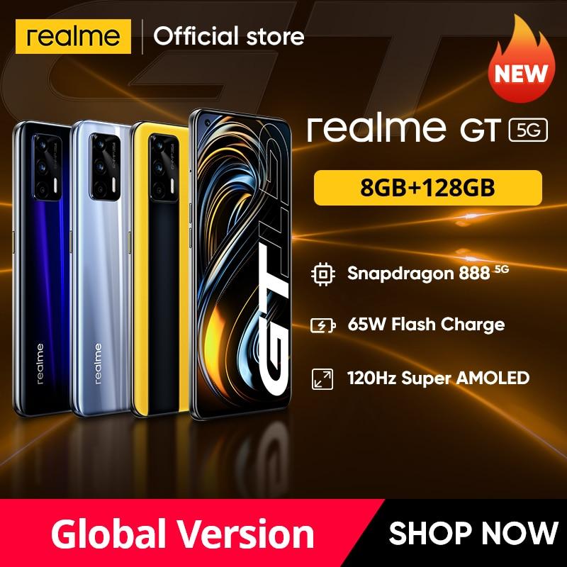World Premiere realme GT Global Version Snapdragon 888 65W Super Dart Charge 120Hz 6.43'' AMOLED 8GB 128GB NFC 4500mAh Smartphone