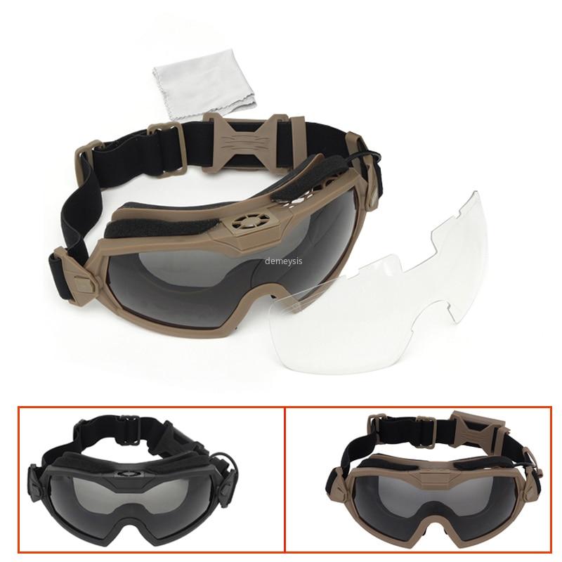 2 نظارات قتالية تكتيكية مع عدستين قابلة للتبديل ، مضادة للضباب ، عسكرية ، Airsoft ، مقاومة للرياح ، للدراجات النارية ، الصيد ، المناورات
