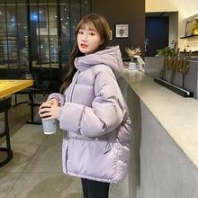 2020 nowa krótka kurtka z kapturem moda kurtka zimowa kobiety dorywczo gruby płaszcz w za dużym rozmiarze kobieta urząd Lady
