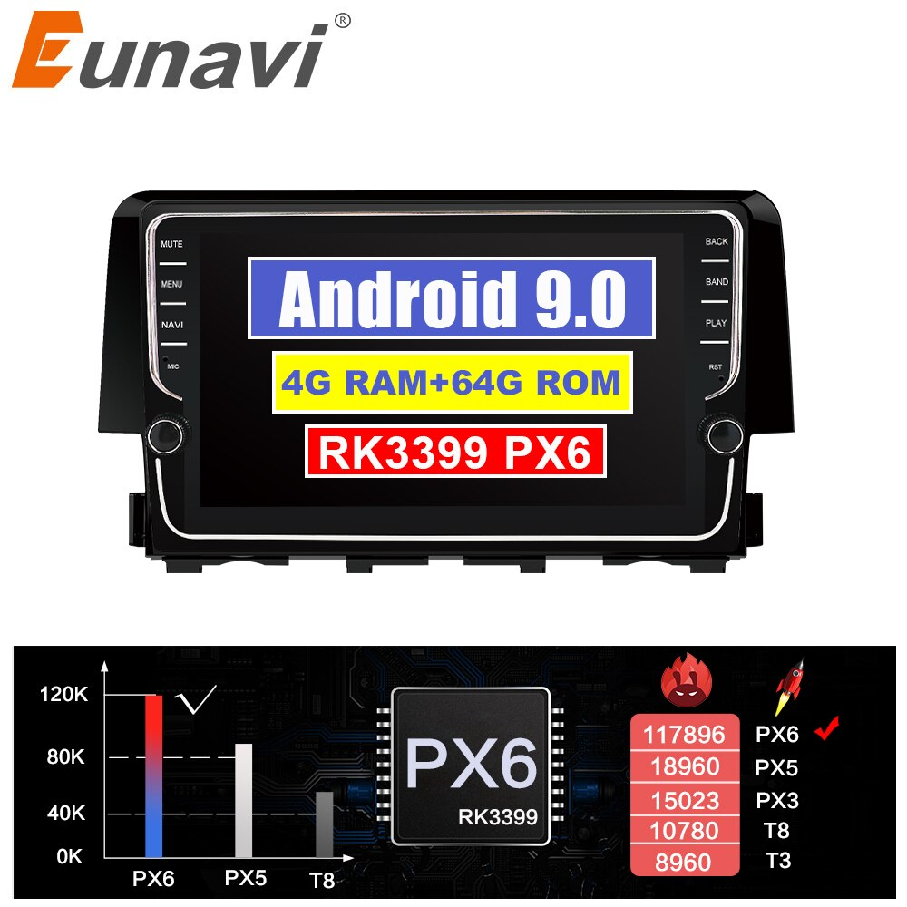 Eunavi 2 DIN Android 9 Auto GPS steuergerät Für Honda Civic 2016 2017 2018 radio stereo multimedia-player 4G 64G IPS TDA7850 KEINE DVD