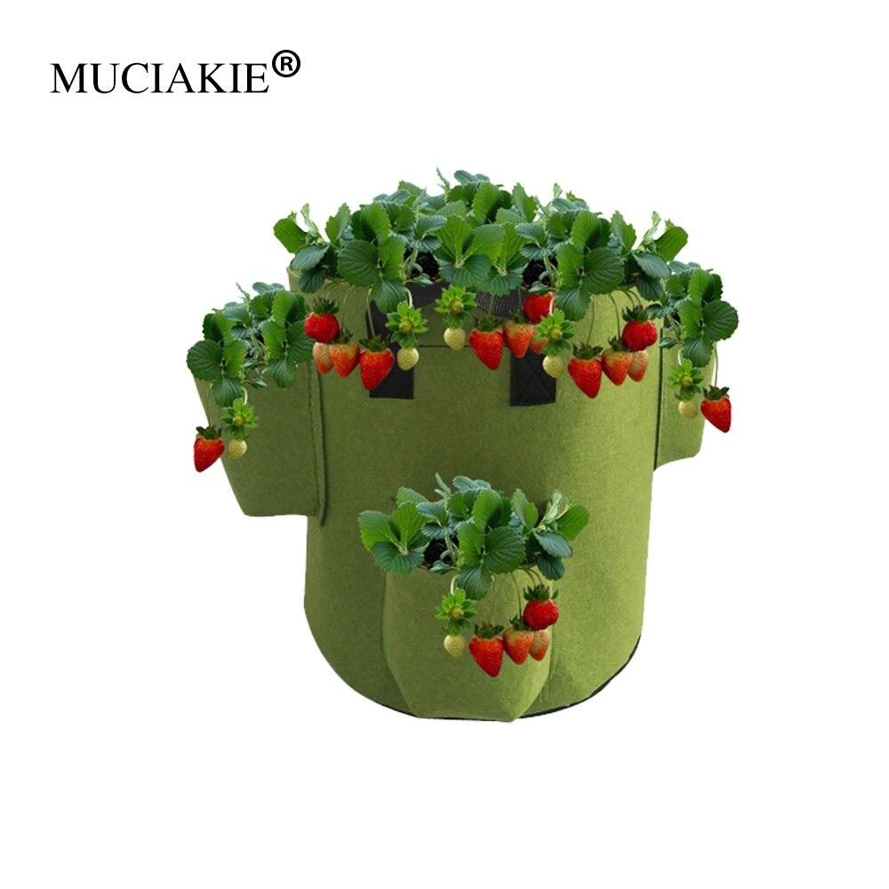 Muciakie 1 pc 5 galões quatro bolsos jardim morango saco de plantio vegetal plantador pote com alças para plantas