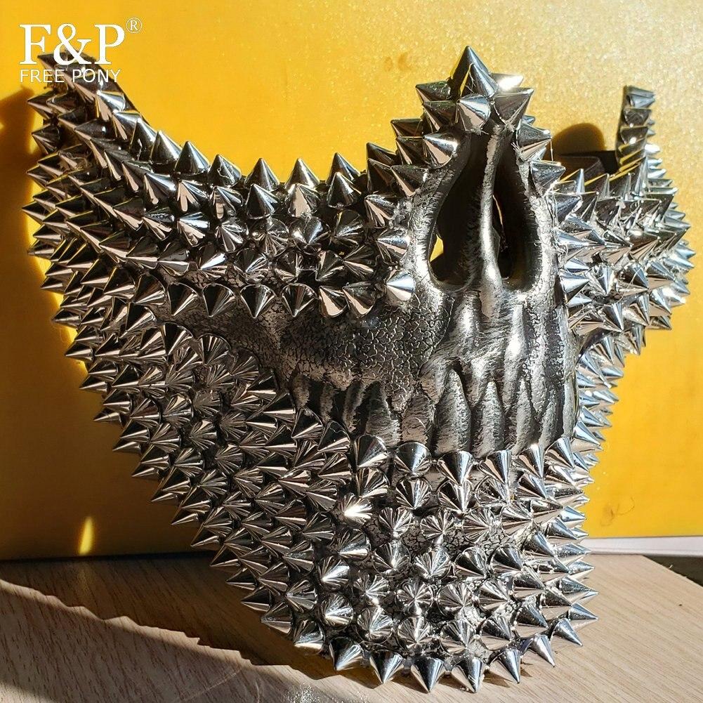 مهرجان Steampunk الفضة الجمجمة برشام سبايك قناع سحب الملكة هالوين زي Gogo راقصة اكسسوارات