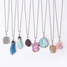 Collar áspero de piedra drusa para mujeres, geométrico Irregular, drusa, cristal de Lava, cuarzo, joyería curativa