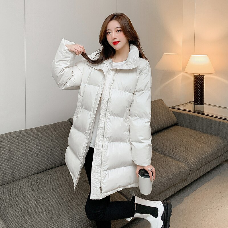 WEIHAOBANG 2021 شتاء جديد ملابس قطنية المرأة بلون الوقوف طوق سستة جيب طويل فضفاض ملابس قطنية دافئة معطف