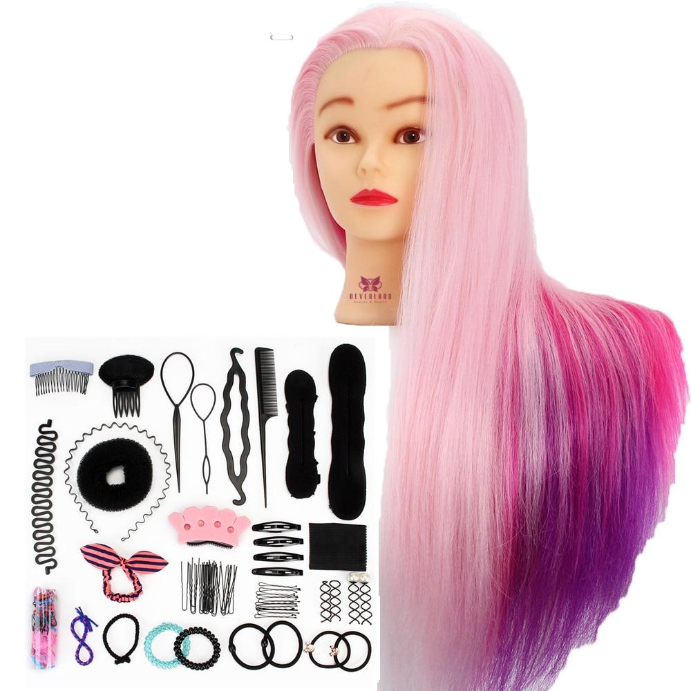 24'' Pink Salon Wig Head for Hairdressing Salon Training Head With Braid Set Barber Hair Braiding Doll  + Clamp Dummy Doll