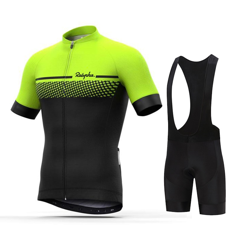 Cycling Jersey Kit Bicycle Short Sleeve Ralvpha Pro Team Men Bike Bib Shorts Clothes Maillot Cycling Sets Clothing Ropa Ciclismo