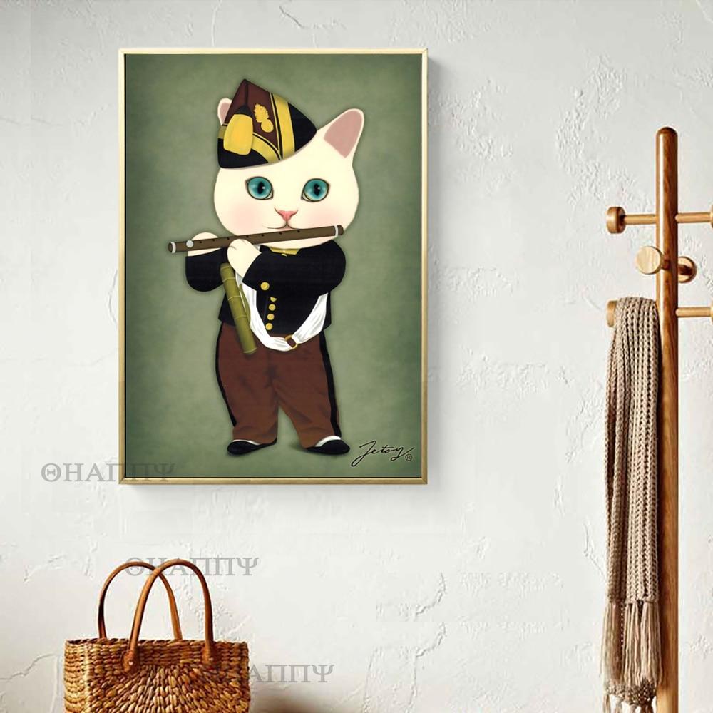 Spoof famosa pintura menina com pérola brinco sul-coreano gato spoof desenho animado arte pintura varanda presente de para sala de estar sem moldura