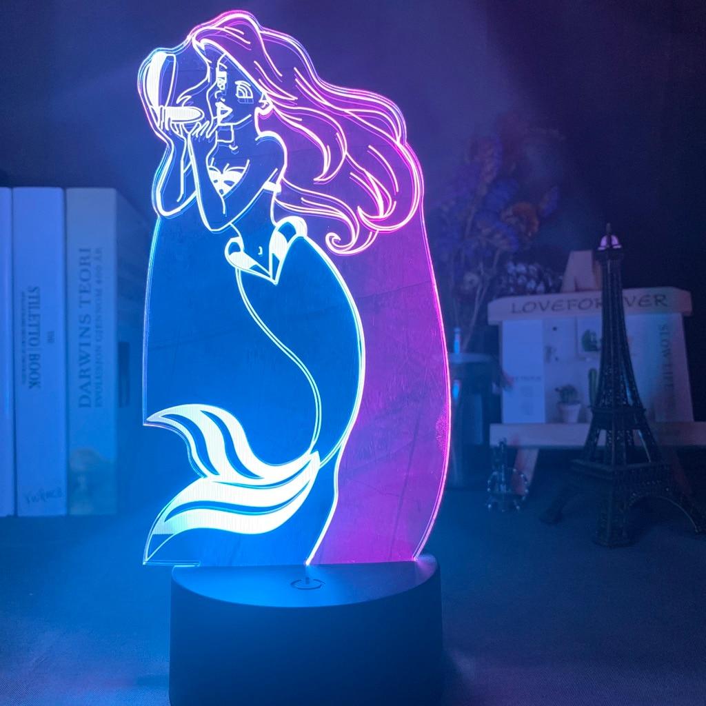 Princesa La Sirenita bebé luz de noche Led doble Color Sensor táctil luz nocturna para la decoración de la habitación niños regalo lámpara de mesa Ariel