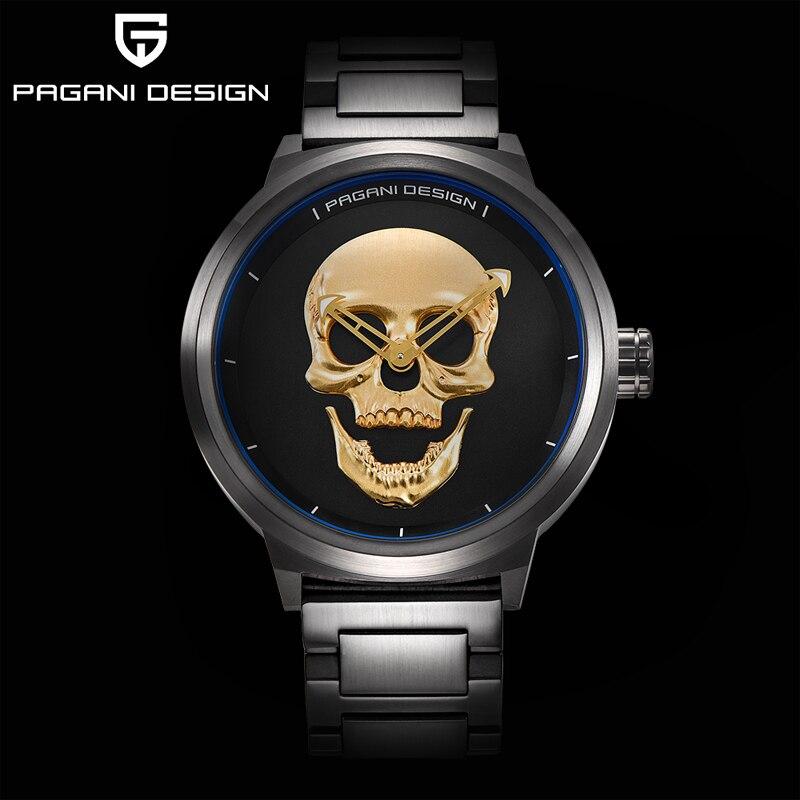 PAGANI DESIGN Fashion 3D Skull Watch Luxury Waterproof Retro Punk Quartz Wristwatch Halloween Gift For Men Relogio Masculino enlarge
