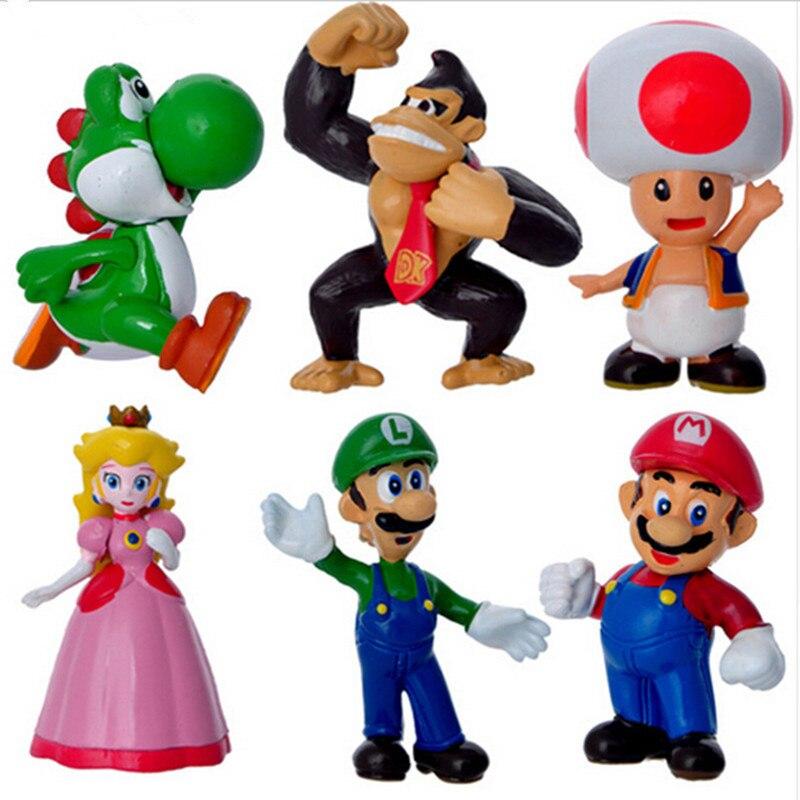 6 шт./компл. экшн-фигурки Super Mario, аниме, Mini Mario Bros, Bowser, Luigi, Koopa, Yoshi, Mario, модель игрушки