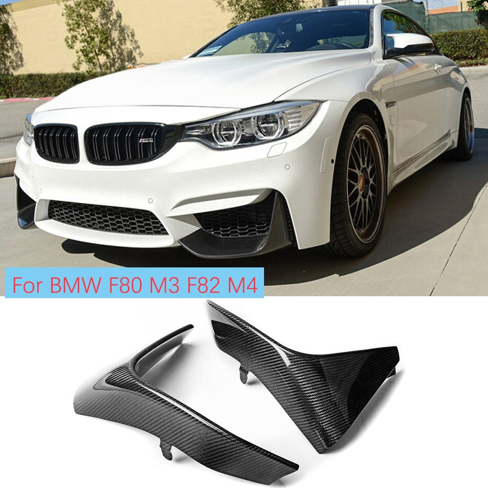 2 قطعة الكربون الألياف الجبهة حافة مصد السيارة الخطان رفرف Cupwings ل BMW F80 M3 F82 F83 M4 2012 - 2018
