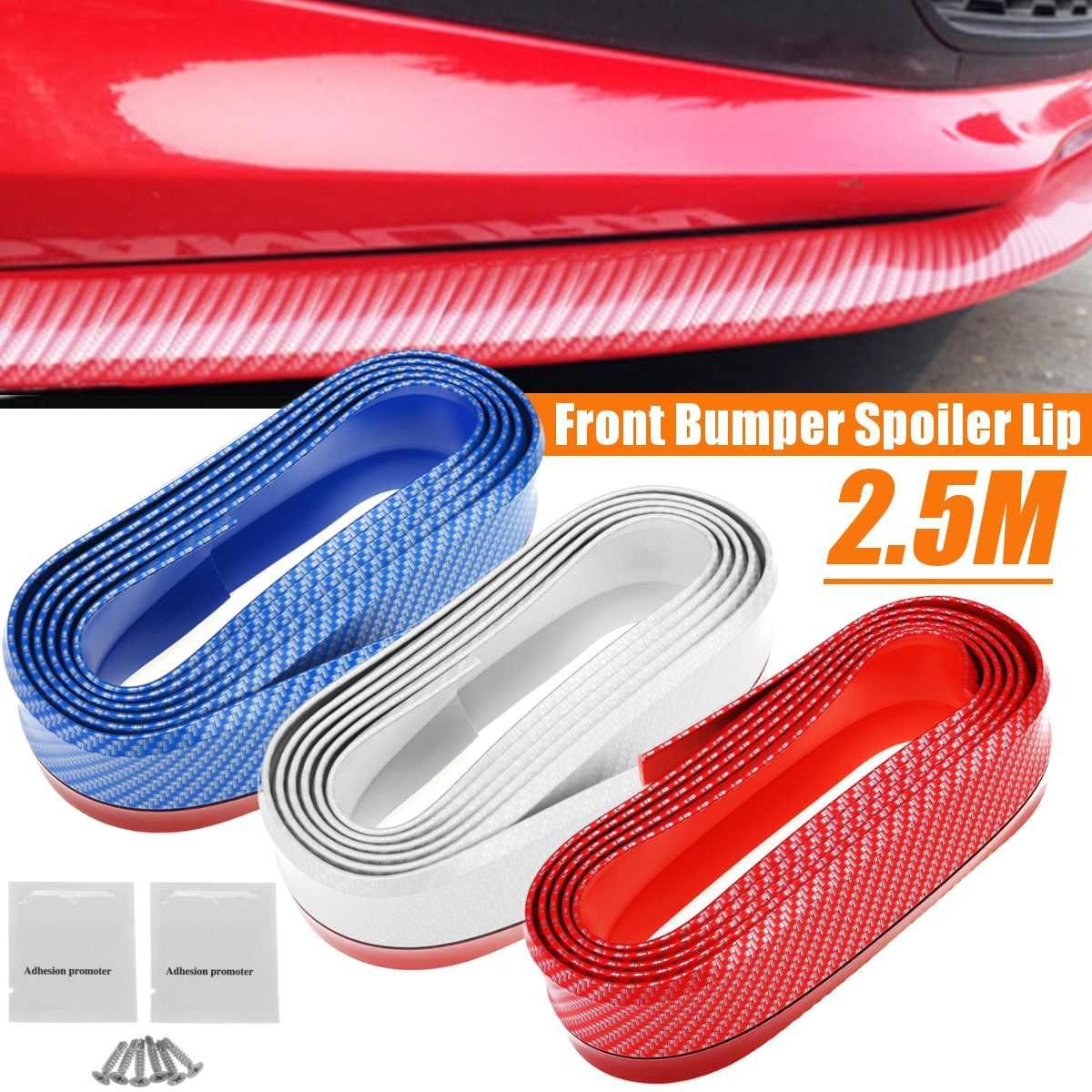 Универсальный автомобильный передний бампер сплиттер спойлер резиновый протектор Защитная крышка наклейка из углеродного волокна красный синий белый для Civic Bmw