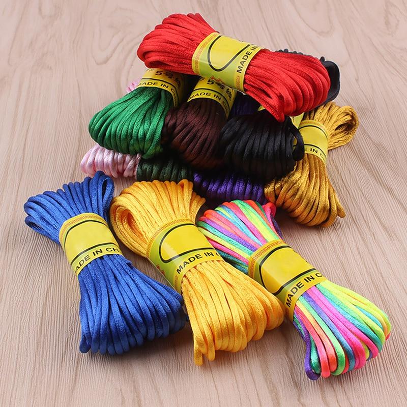 10m/roll Multi-color Strong Braided Macrame Silk Satin Cord Korean Thread Rope DIY Handmade Craft Braided Supplies Thread Wire
