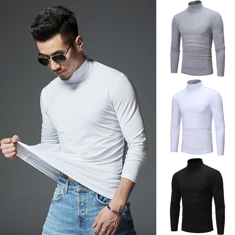 Half Turtleneck Men T-Shirt Casual Long Sleeve T Shirt Male Tops Fashion Fitness Tight Tee