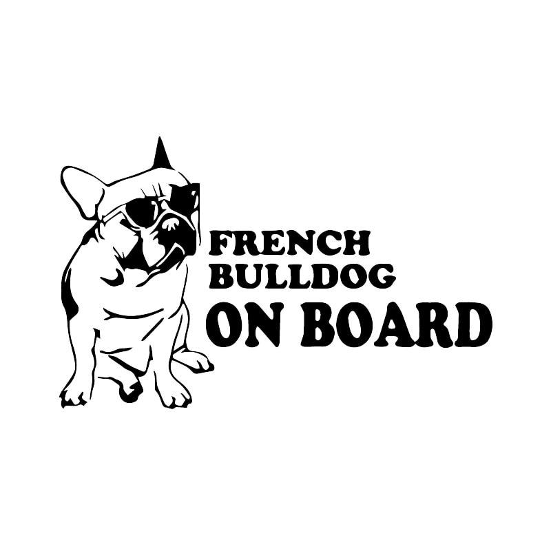 Dahasaru Bulldog francés a bordo divertido pegatina de perro para coche pegatinas de vinilo para ventana decoración calcomanía del coche de personalidad negro/plata 10*16CM