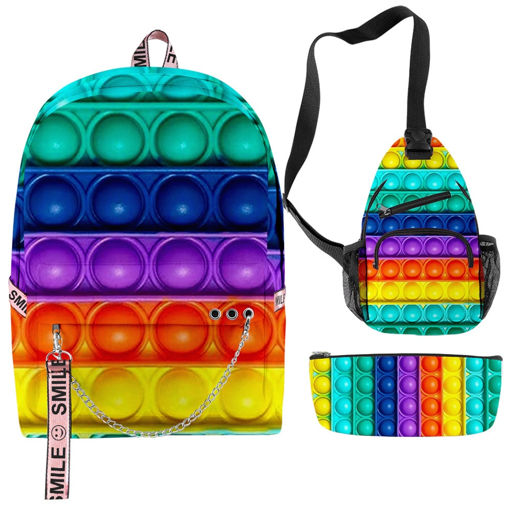 Fashion Rainbow Color Peripheral Suit Backpack Men's and Women's School Bag Large-capacity Handbag a