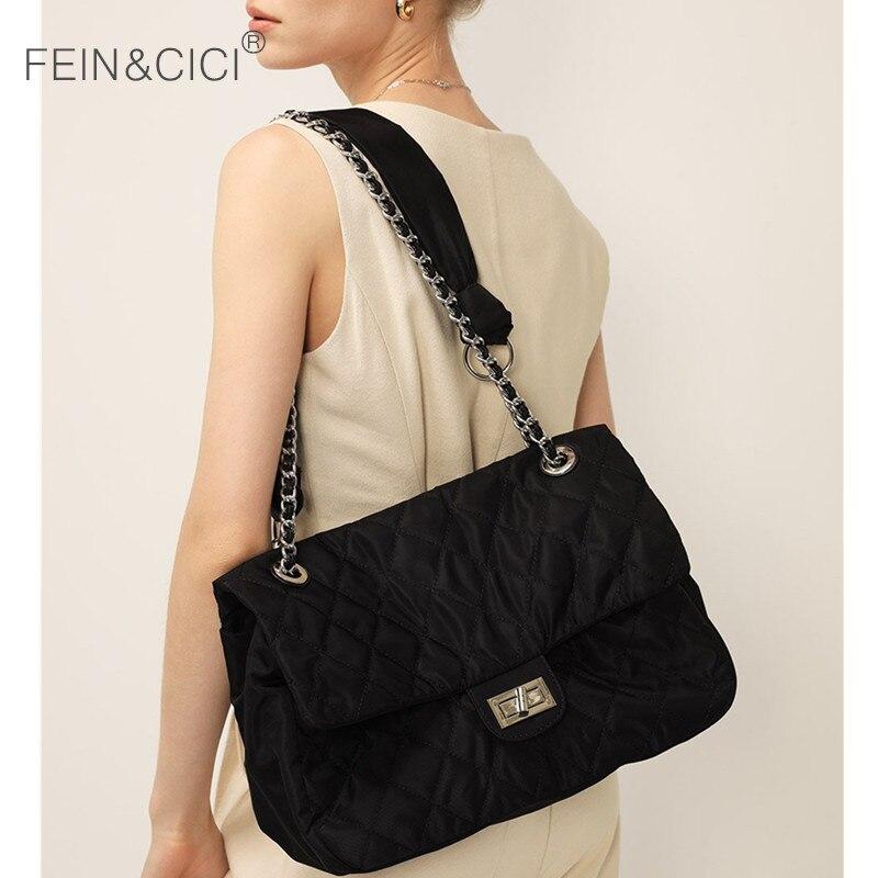 Women design large capacity shoulder bag nylon jumbo chain flap crossbody messenger bag black totes handbag 2020 winter new