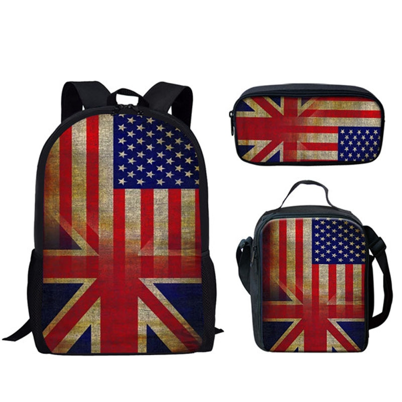 Школьные сумки, комплект из 3 предметов для детей, модный рюкзак с принтом флагов США, Великобритании, школьная сумка для школьников, школьна...