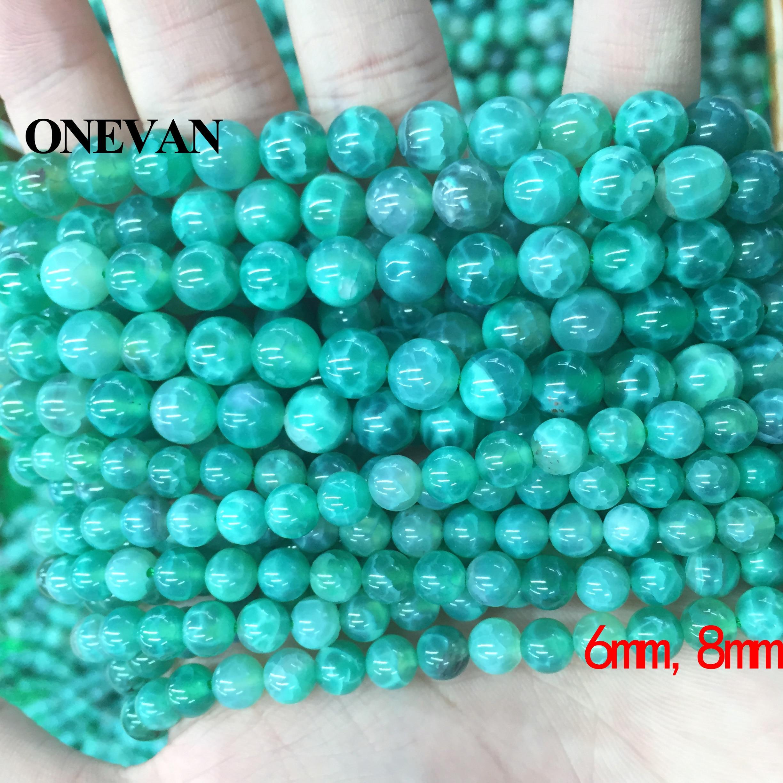 ONEVAN, Pavo real verde, ágatas, cuentas de 6mm, 8mm, 10mm, lisa, suelta, redonda, piedra, Diy, pulsera, collar, joyería, diseño de piedras preciosas