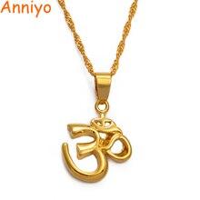 Anniyo symbole africain petit Yoga breloque collier pendentif pour femmes fille, indien hindou hindou bouddhiste OM inde Religion #00710