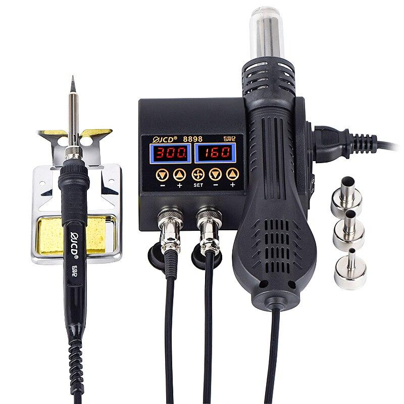 2 v 1 750W horkovzdušná pistole s LCD digitálním displejem, stanice pro přepracování svařování pro opravu smartphonu BGA SMD PCB IC páječka na vlasy fén