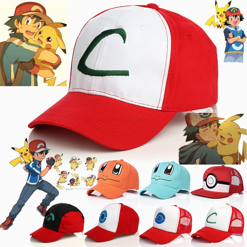 TAKARA TOMY Pokemon Ash Ketchum Pikachu Cosplay Hats Charmander Squirtle Child Adult Baseball Cap Sports Street Sun-proof Hat