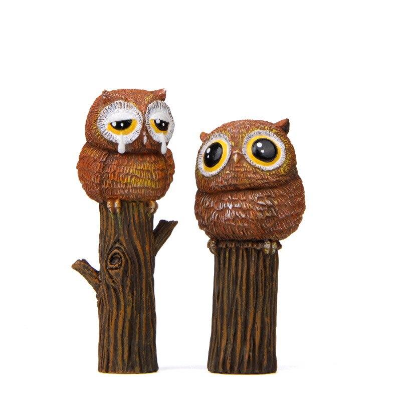 1pcs Micro Paisagem Decoração Resina Coruja Figura Modelo Brinquedos DIY Casa Decoração Enfeites de Jardim Pássaro Estatuetas Em Miniatura