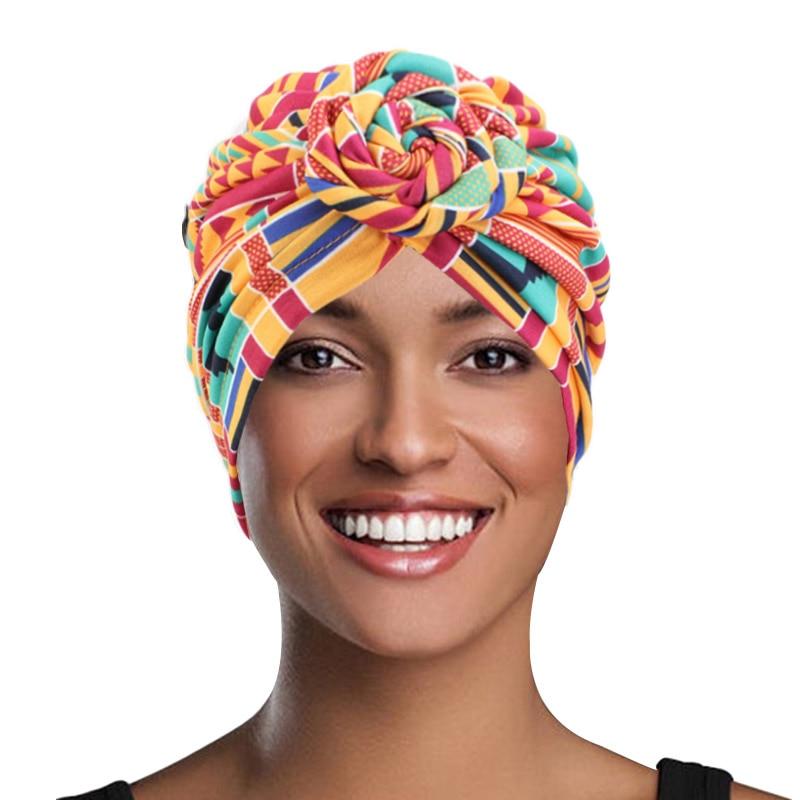 Baumwolle Turban Afrikanische Muster Blume Turban für Frauen Knoten Kopf wrap Bandana Hüte Damen Chemo Kappe Headwear Haar Zubehör