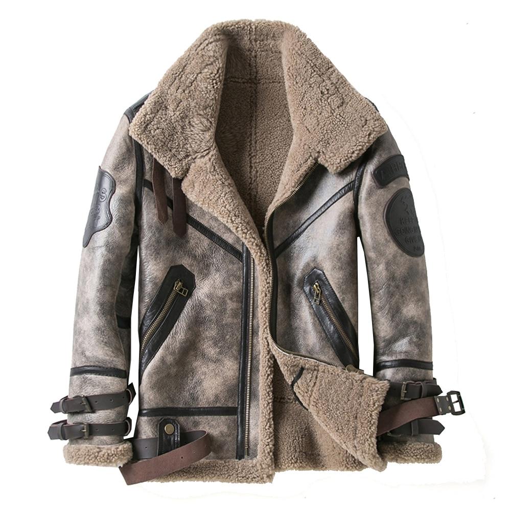 Fashion 100% Quality Real Sheepskin Fur Men Coat Genuine Full Pelt Sheep Shearling Male Winter Jacket Brown Men Fur Outwear