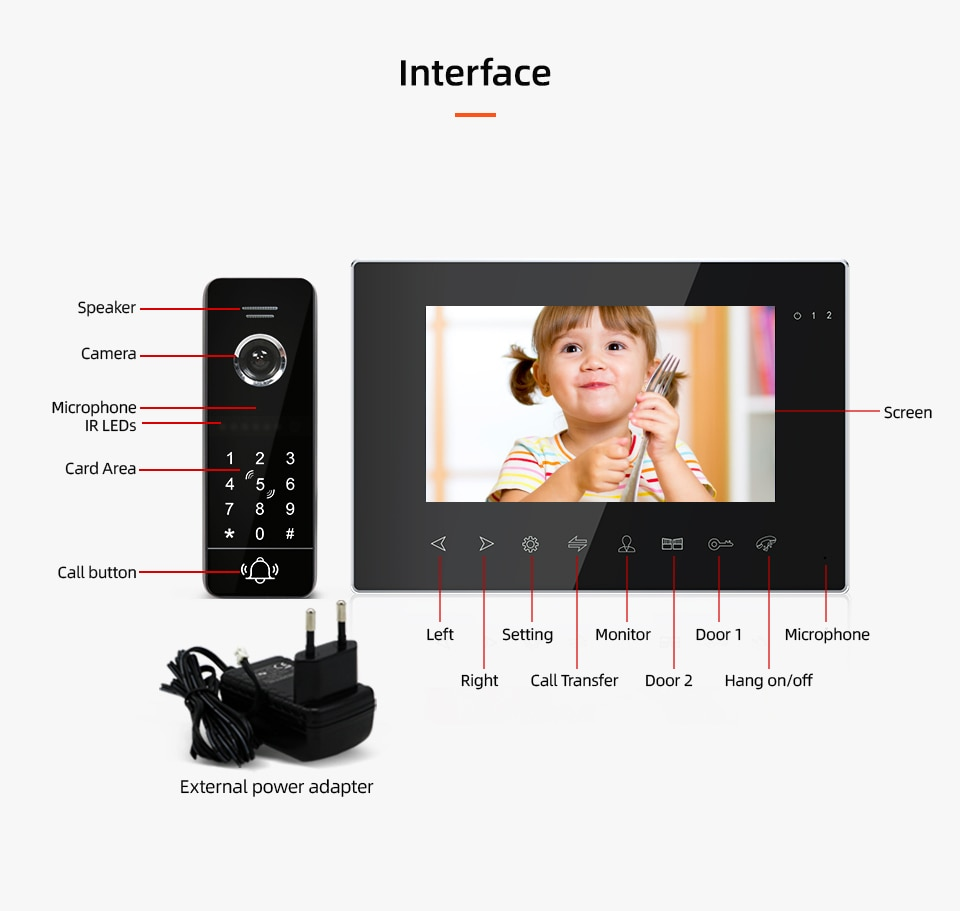 New 7 Inch Tuya Smart app Remote Wired monitor With IR Video Door Bell Support Password RFID Card Unlock For Home Access Control enlarge