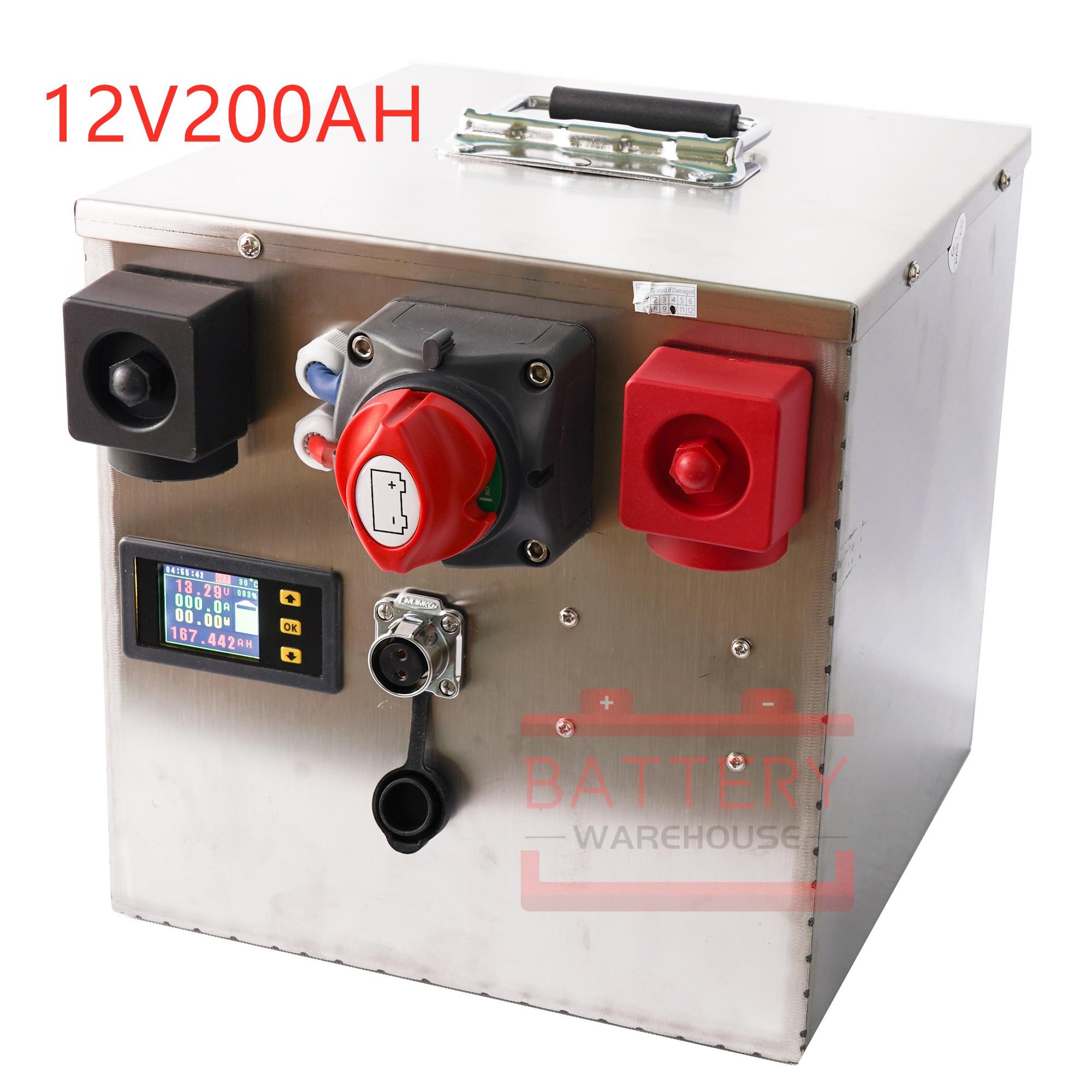 12V200AH with BMS lifepo4 lithium iron li-ion battery for12.8v RV motor home/boat motors/inverter/solar panel/outdoor power bank