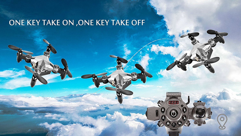 EBOYU(TM) DH800 2.4G 4CH 0.3MP WIFI FPV Camera Portable Drone RC Quadcopter Watch Style Mini RC UFO Pocket Drone for Kids RTF enlarge