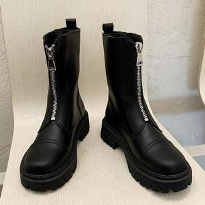 Boots Female British Wind 2020 New Wild Autumn Short Boots Spring And Autumn Boots Front Zipper Boots Zapatos De Mujer