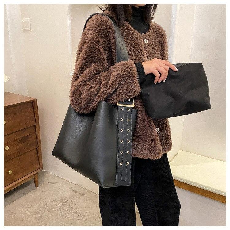 Composite Bag PU Leather Shoulder Bag for Women 2021 Brand Wide Belt Designer Handbags female Trend Solid Color Bucket Bag black