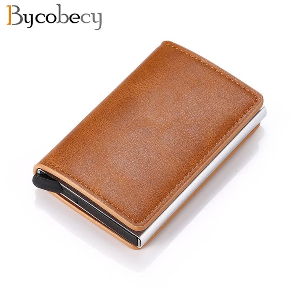 Bycobecy Credit Card Holder Wallet Men Women Metal RFID Vintage Aluminium Bag Crazy Horse PU Leather Bank Cardholder Case New