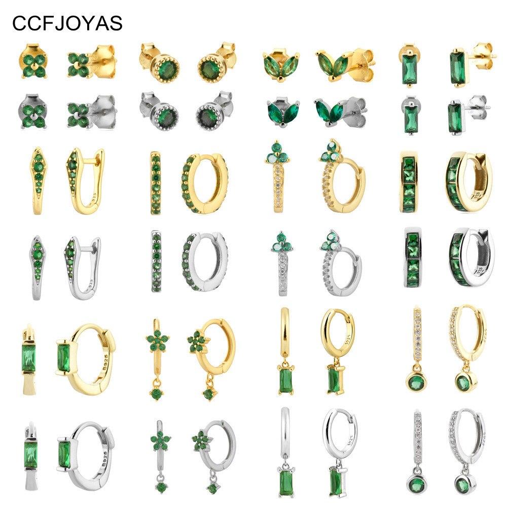 Серьги-кольца-ccfjoyas-из-серебра-925-пробы-с-зеленым-цветом
