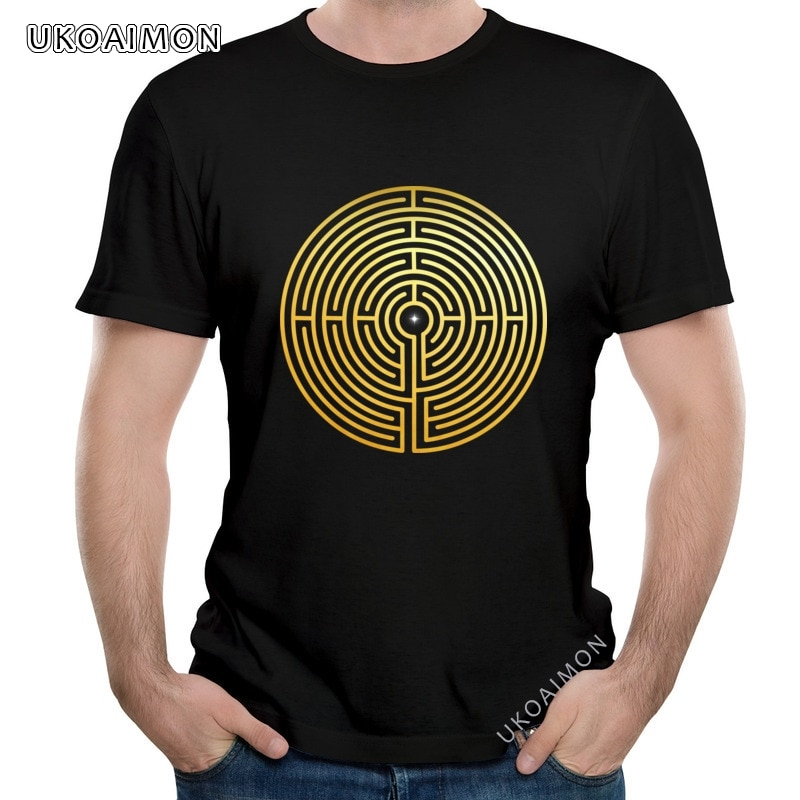 Новое поступление, футболки из чистого хлопка для взрослых с лабиринтом, уникальные европейские футболки, простые Стильные распространенн...